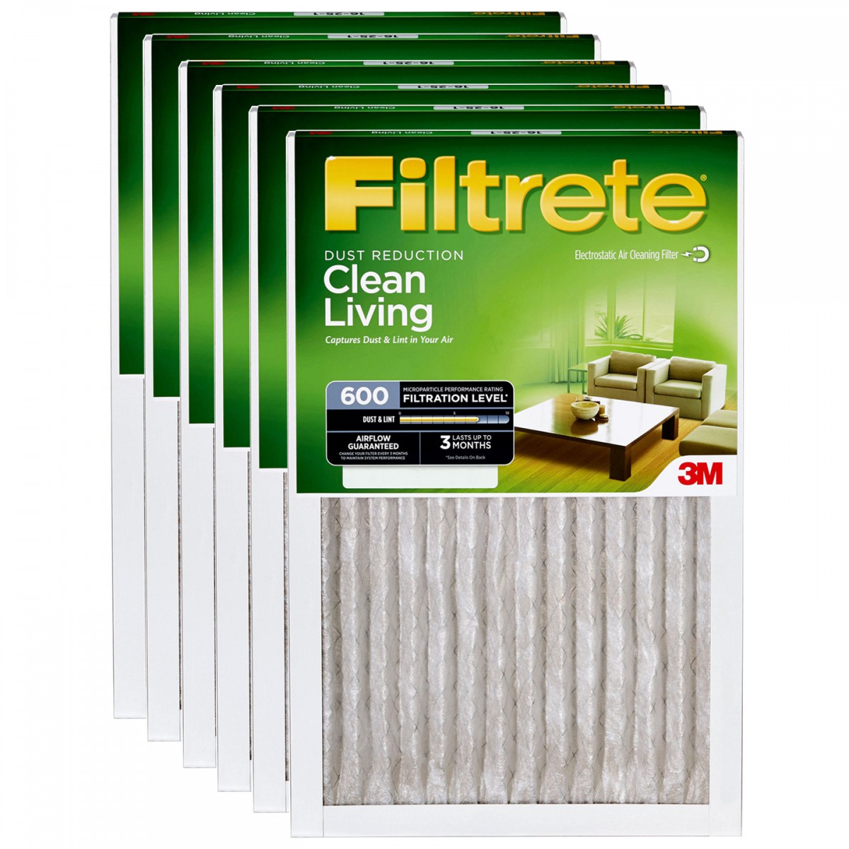filtrete 600 dust reduction clean living filter 20x25x1 6pack - Filtrete Air Filter