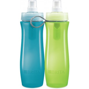 BOTTLE-BL-GR-FILTER-INSIDE-2PK Brita 20-Ounce Water Purifier Bottle - Blue / Green (2-Pack)